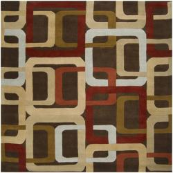 Hand-tufted Brown Contemporary Multi Colored Square Mayflower Wool Geometric Rug (8' Square)