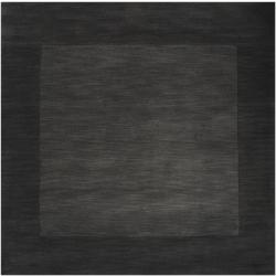 Hand-crafted Black Tone-On-Tone Bordered Wool Rug (9'9 Square)