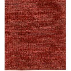 Hand-woven Red Jute Rug (3' 6 x 5' 6) - Thumbnail 2