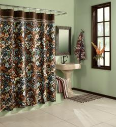 Lola Paisley Chocolate Cotton Shower Curtain