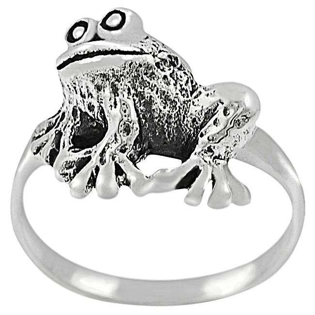 Journee Collection Sterling Silver Sitting Frog Ring