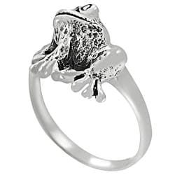 Journee Collection Sterling Silver Sitting Frog Ring - Thumbnail 1
