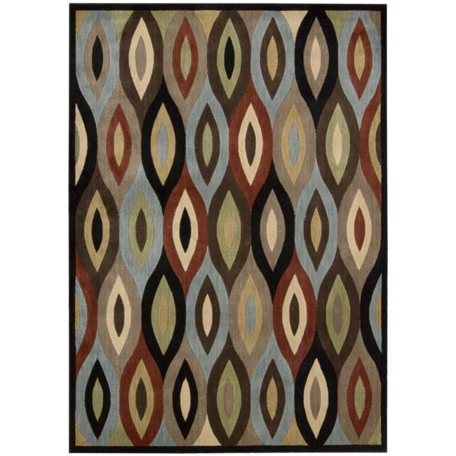 Nourison Monaco Brown Geometric Rug - multi