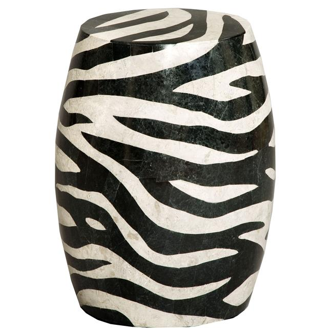 Faux Stone Black Zebra Stripe Round Accent Table Free