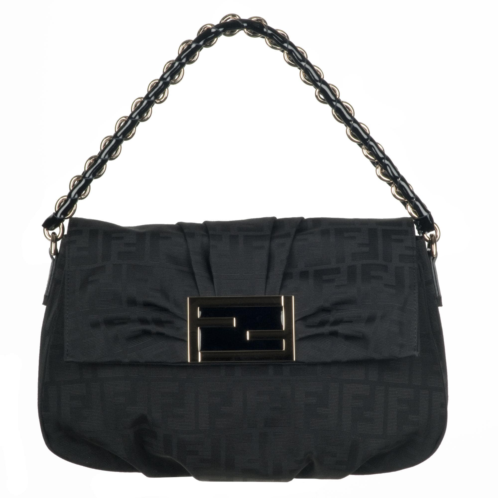 Fendi 'Mia-Zucca' Black Canvas Shopper Bag