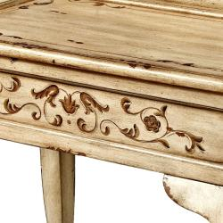 Hand-painted Beige Rectangular Accent Table