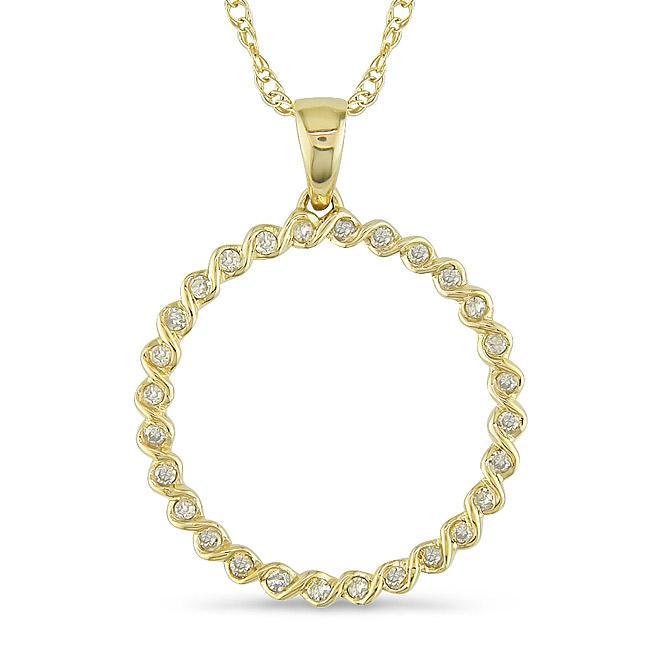 Miadora 10k Yellow Gold 1/6ct TDW Diamond Spiral Wire Necklace