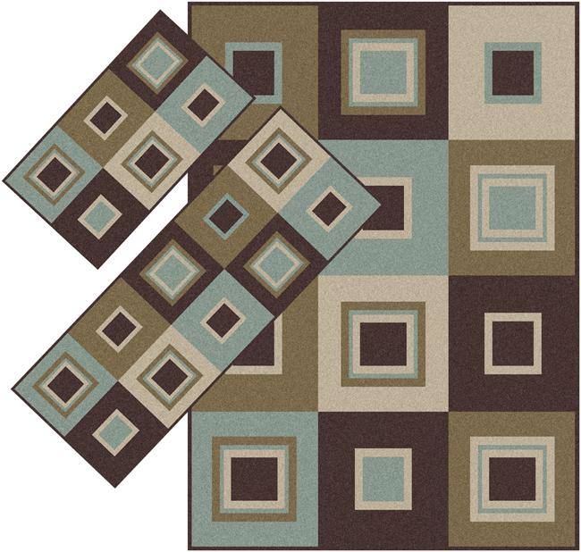 Appealing Brown and Blue Squares  Rugs (1'8 x 2'6) (1'10 x 5'4) (4'11 x 7') - Thumbnail 0