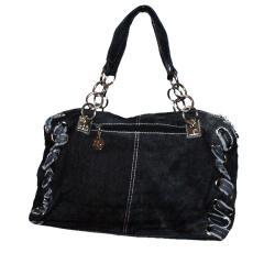 Blue Denim Rhinestone Accent Shoulder Bag