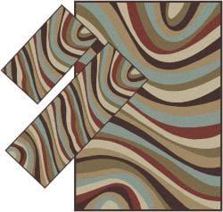 Appealing Brown Wavy Stripe  Rugs (1'8 x 2'6) (1'10 x 5'4) 4'11 x 7') - Thumbnail 2