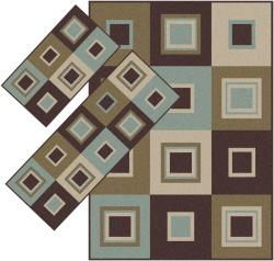 Appealing Brown and Blue Squares  Rugs (1'8 x 2'6) (1'10 x 5'4) (4'11 x 7')