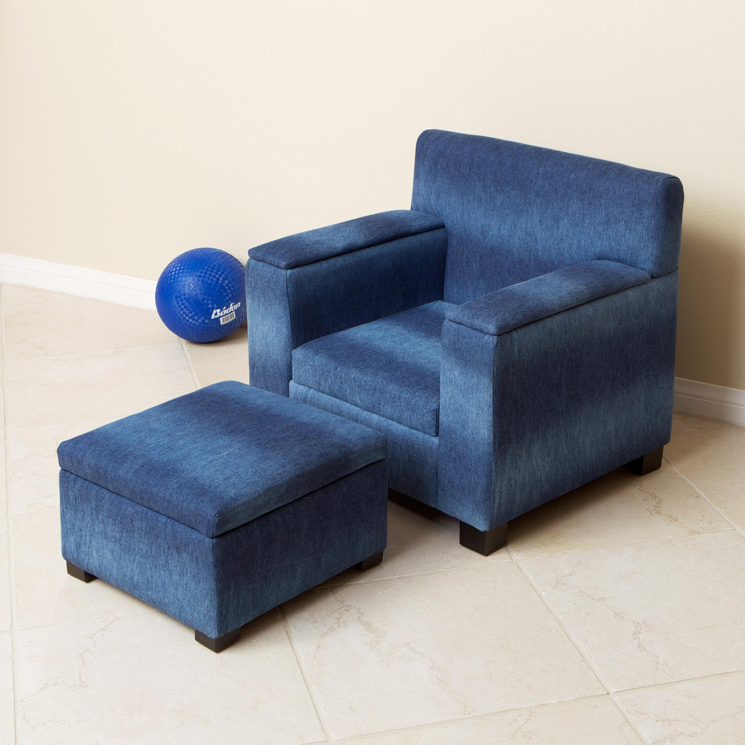 Blue Denim Fabric Kid S Club Chair And Ottoman Set Free