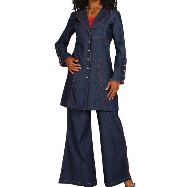 Divine Apparel Women's Plus Size Stretch Denim Pant Suit