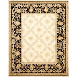 Asian Hand-knotted Zeus Trellis Ivory Wool Rug (6' Round)
