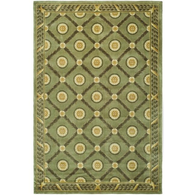 Asian Hand-knotted Trellis Green Wool Rug (4' x 6')