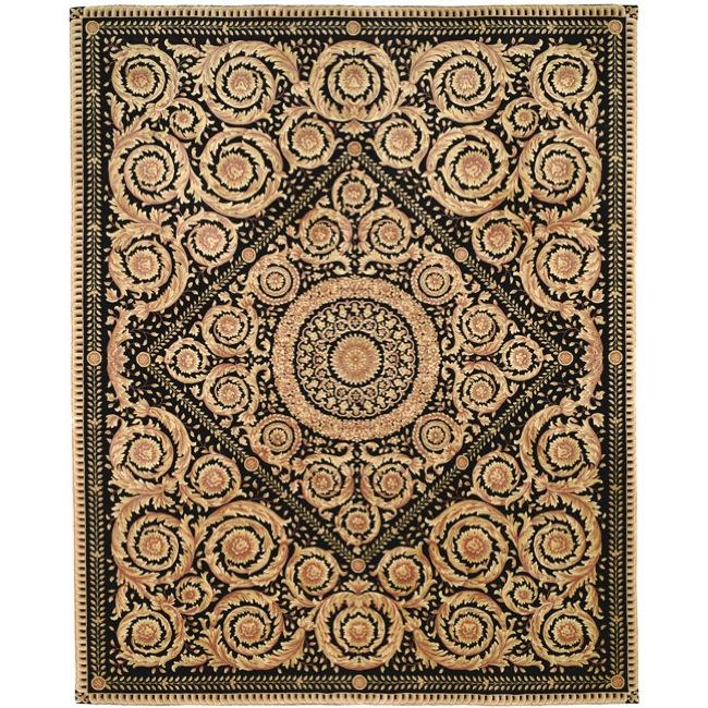 Asian Hand-knotted Royal Crest Beige/ Black Wool Rug (4' x 6') - Thumbnail 0