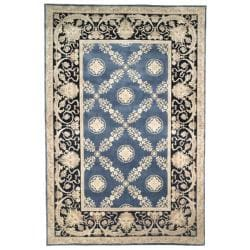 Asian Hand-knotted Zeus Trellis Blue Wool Rug (6' Round)