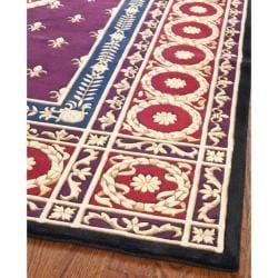 Asian Hand-knotted Fleur-de-lis Royal Purple Wool Rug (10' Square) - Thumbnail 1
