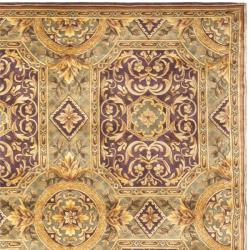 Asian Hand-knotted Royalty Beige Wool Rug (6' Square)