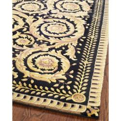 Asian Hand-knotted Royal Crest Beige/ Black Wool Rug (8' Square) - Thumbnail 1