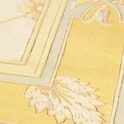 Asian Hand-knotted Medallion Ivory/ Gold Wool Rug (8' Square) - Thumbnail 2