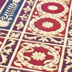 Asian Hand-knotted Fleur-de-lis Royal Purple Wool Rug (10' Square) - Thumbnail 2