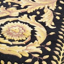 Asian Hand-knotted Royal Crest Beige/ Black Wool Rug (8' Square) - Thumbnail 2