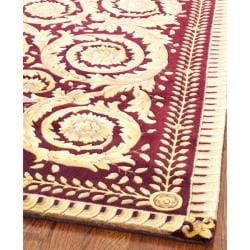 Asian Hand-knotted Royal Crest Beige/ Purple Wool Rug (6' Square)