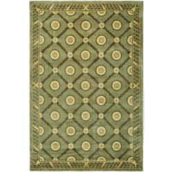 Asian Hand-knotted Trellis Green Wool Rug (9' x 12')