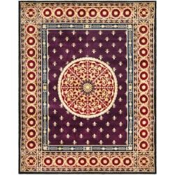 Asian Hand-knotted Fleur-de-lis Royal Purple Wool Rug (6' x 9')