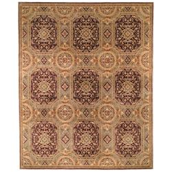 Asian Hand-knotted Royalty Beige Wool Rug (8' Square)