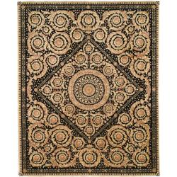 Asian Hand-knotted Royal Crest Beige/ Black Wool Rug (6' x 9')