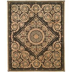 Asian Hand-knotted Royal Crest Beige/ Black Wool Rug (8' x 10')