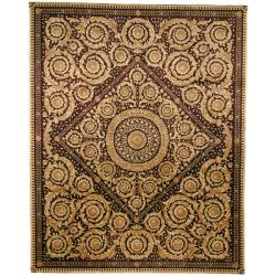 Asian Hand-knotted Royal Crest Beige/ Purple Wool Rug (8' Square)