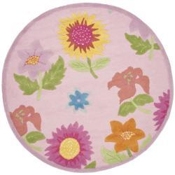 Safavieh Handmade Children's Paisley Sketch Pink N. Z. Wool Rug (4' Round)