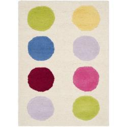 Safavieh Handmade Children's Pokka Dots Ivory N. Z. Wool Rug (2' x 3')