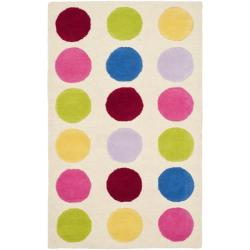 Safavieh Handmade Children's Pokka Dots Ivory N. Z. Wool Rug (3' x 5')