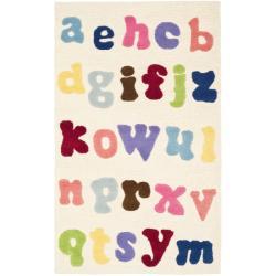 Safavieh Handmade Children's Alphabet Ivory New Zealand Wool Rug (3' x 5')