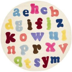 Safavieh Handmade Children's Alphabet Ivory N. Z. Wool Rug (4' Round)