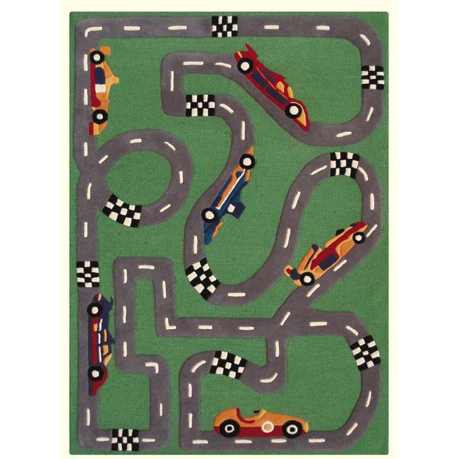 nuLOOM Hand-carved Kids Car Race Finish Line Green Wool Rug (3'6 x 5'6)