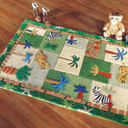 nuLOOM Hand-carved Kids Africa Jungle Safari Multi Wool Rug (3'6 x 5'6)