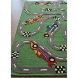 nuLOOM Hand-carved Kids Car Race Finish Line Green Wool Rug (3'6 x 5'6) - Thumbnail 1