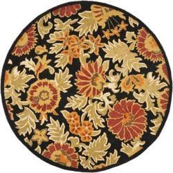 Safavieh Handmade Blossom Flowers Black Wool Rug (6' Round)