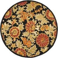 Safavieh Handmade Blossom Flowers Black Wool Rug - 6'