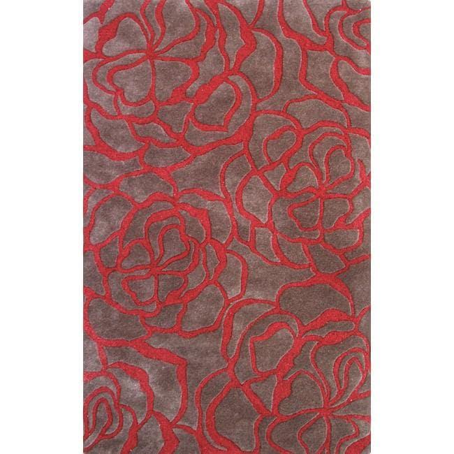nuLOOM Handmade Prive Red Floral Garden Wool Rug (5' x 8')