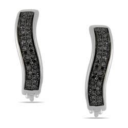 Miadora Sterling Silver 1/5ct TDW Black Diamond Hoop Earrings