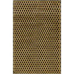Hand-knotted Mandara Geometric Black New Zealand Wool Rug (6' x 9') - Thumbnail 1