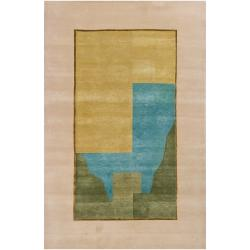 Hand-knotted Geometric Gold New Zealand Wool Rug (6' x 9')