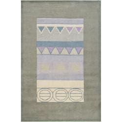 Hand-knotted Mandara Geometric Green New Zealand Wool Rug (6' x 9') - Thumbnail 2