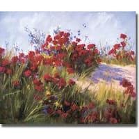 Brigitte Curt 'Red Poppies and Wild Flowers' Canvas Art